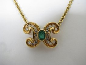 110: Lady's 18K YG Diamond & Emerald Necklace