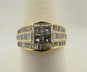 112: Lady's 14K Baguette & Invisible Set Diamond Ring