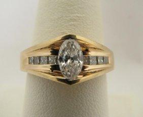 113: Lady's 14K YG Ring, .50ct Marquise Diamond