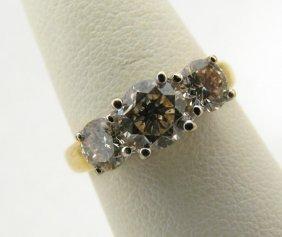115: 18K Yellow Gold Three Stone Diamond Lady's Ring