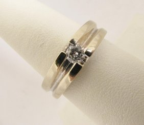 116: 14K WG Gents Band With .40 Center Diamond