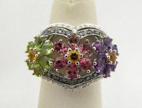 Lady's Unique 14K WG Floral Motif Designer Ring