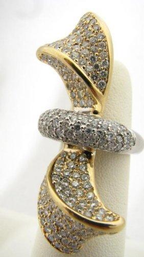122: Lady's 14K Two-Tone Diamond Ribbon Motif Ring