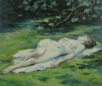 369: Carl C Graf 12x14 O/B Reclining Female Nude