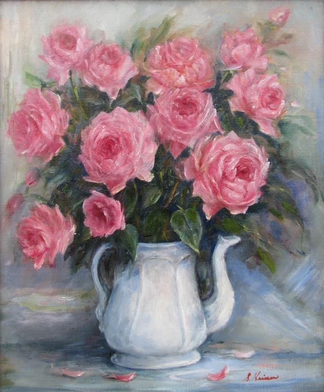 "808: Sally Kriner 24x20 O/C ""Roses"", Teapot"