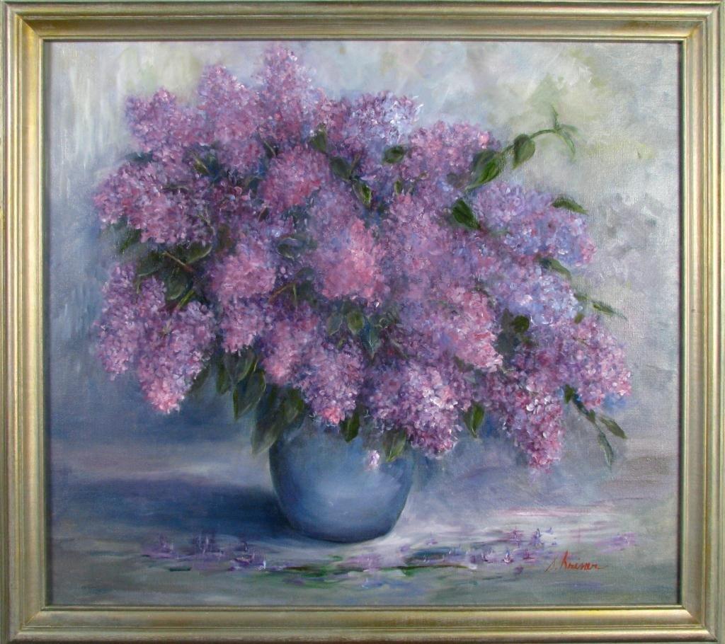 809: Sally Kriner 32x36 O/C Lilacs in Vase