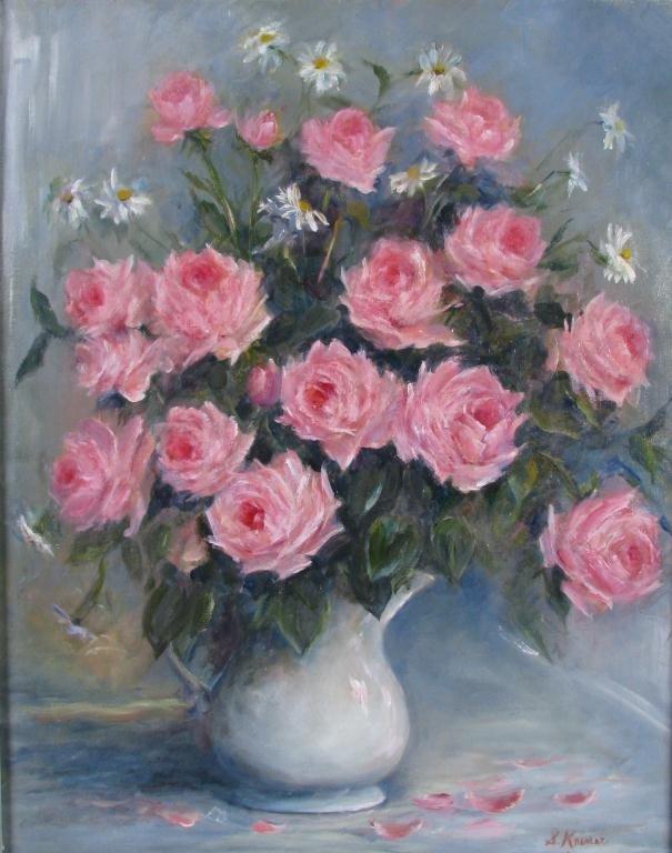 "810: Sally Kriner 30x24 O/C ""Pink Roses"""