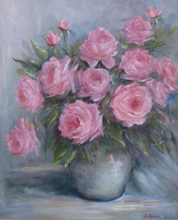 812: Sally Kriner 24x20 O/C Pink Roses