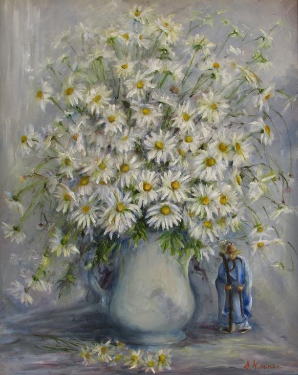 """813: Sally Kriner 30x24 O/C """"Daisies"""", with Figure"""