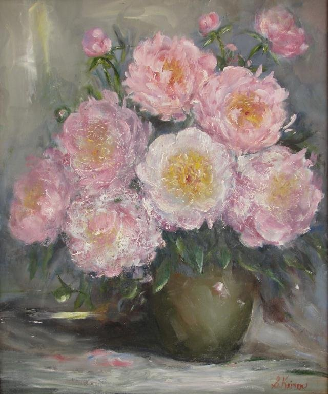 814: Sally Kriner 24x20 O/C Pink and White Peonies