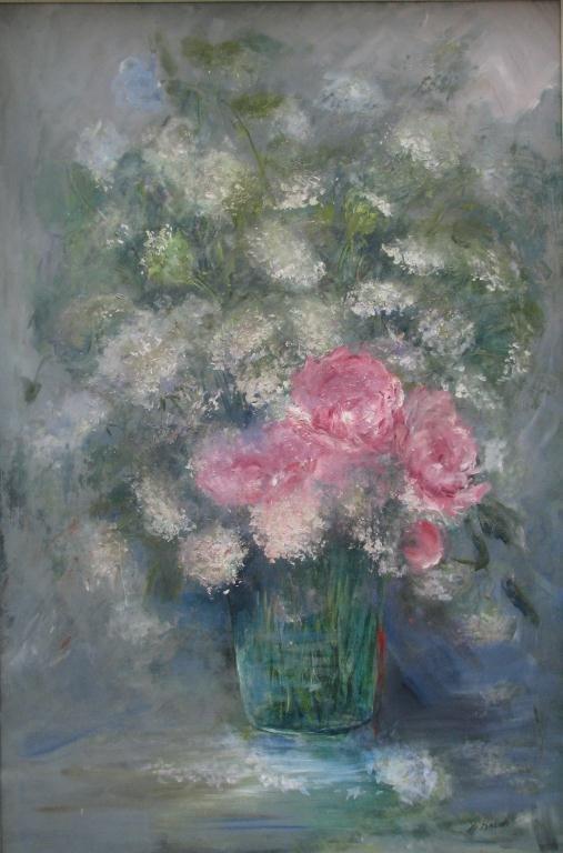 816: Sally Kriner 36x24 O/B Peonies and Wildflowers