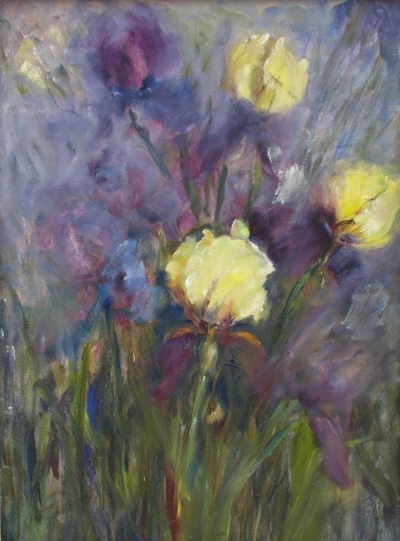 817: Sally Kriner 16x12 O/C Yellow and Purple Iris