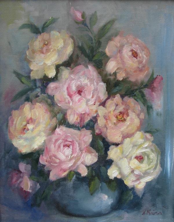 819: Sally Kriner 20x16 O/C Pink and White Peonies