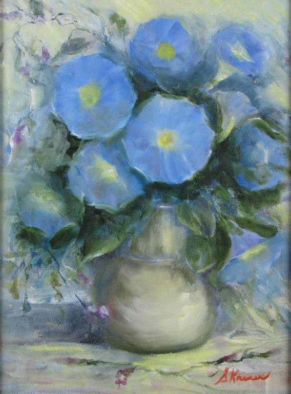 820: Sally Kriner 16x12 O/C Blue Pansies