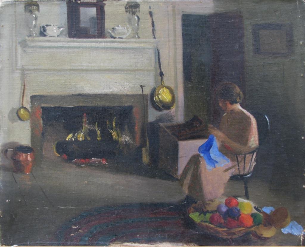 841: Attrib Marie Goth 15x19 O/B Woman by Fire