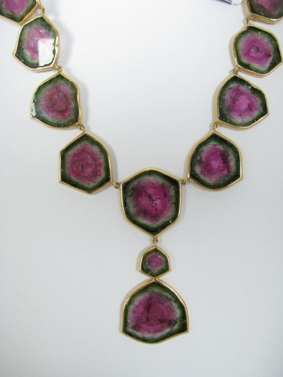 405: Very Rare 18K YG Watermelon Tourmaline Necklace