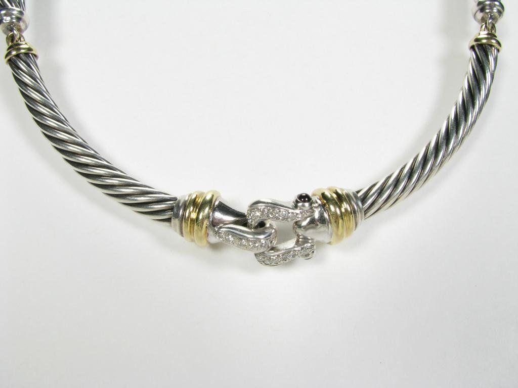 408: David Yurman Cable Buckle Diamond Choker