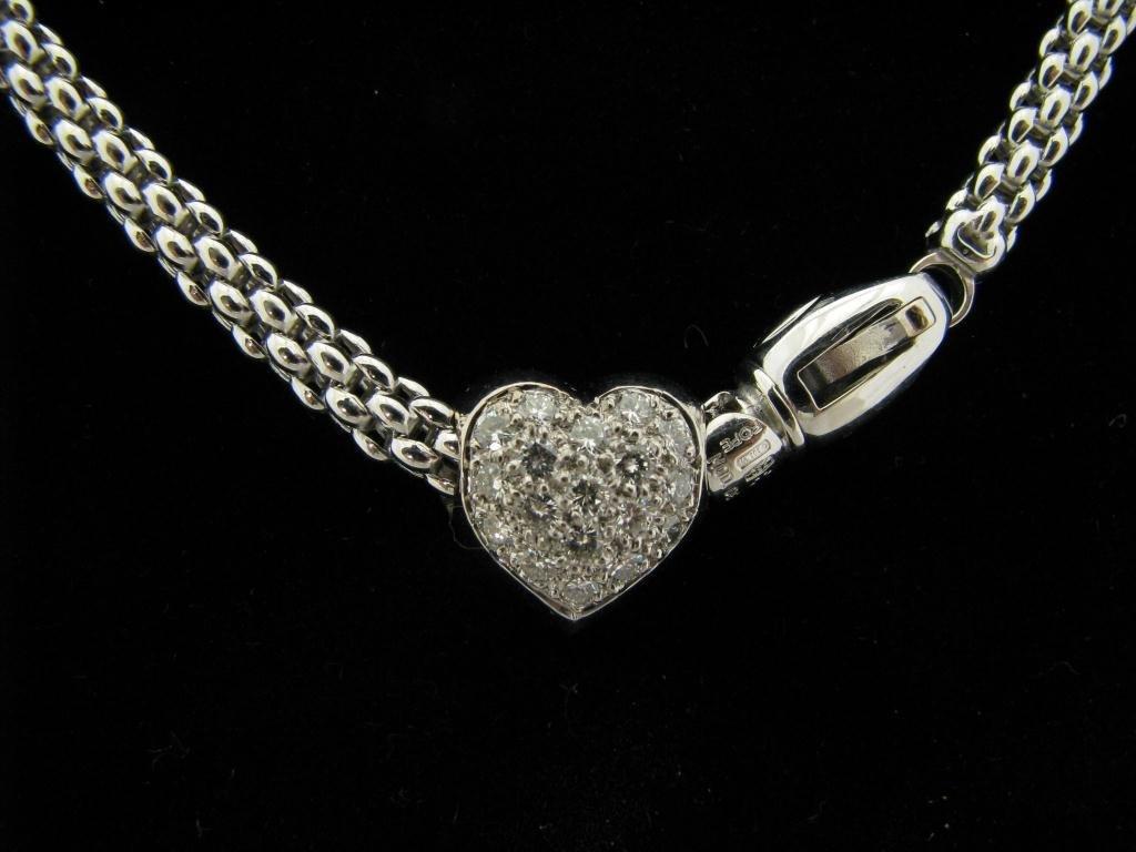 409: Fope Lady's 18K WG Diamond Heart Necklace