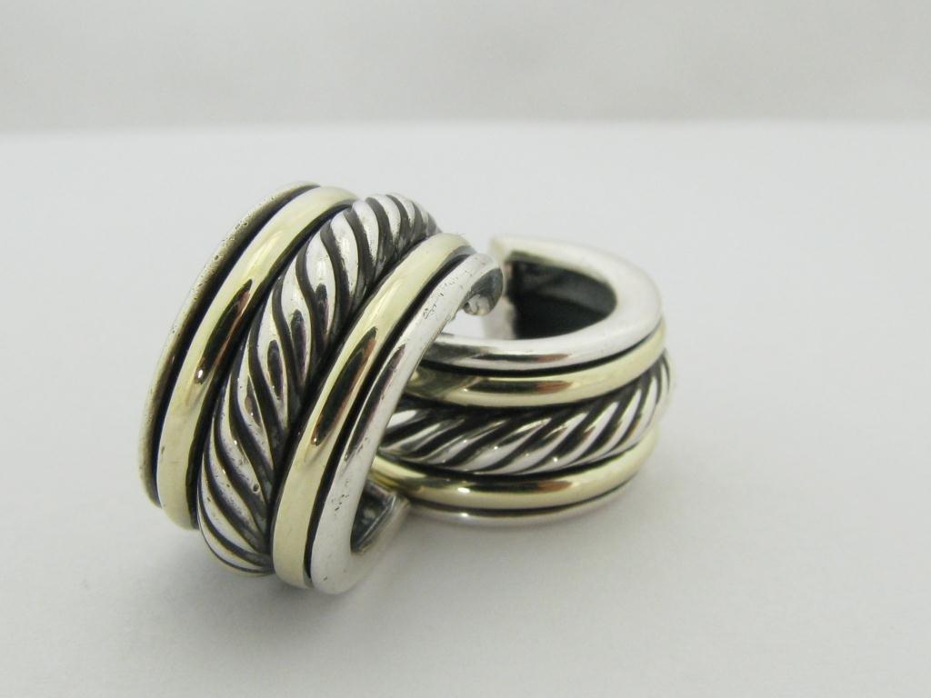 412: David Yurman Sterling & Gold Earrings