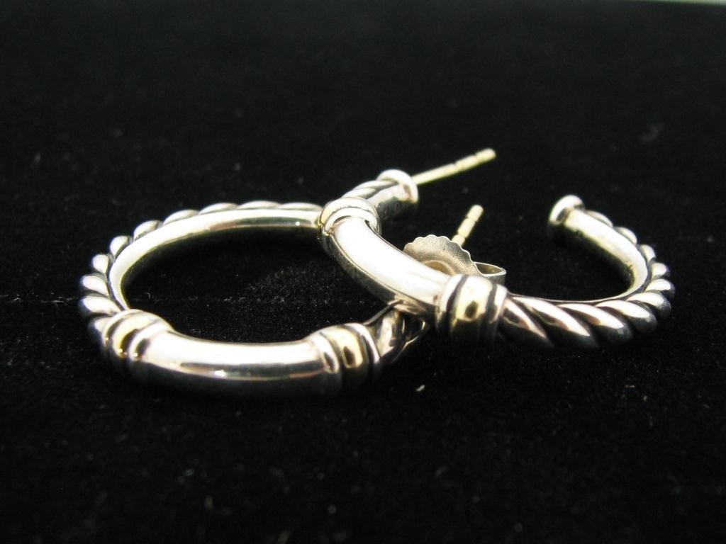 413: David Yurman Designer Sterling & 18K Hoop Earrings