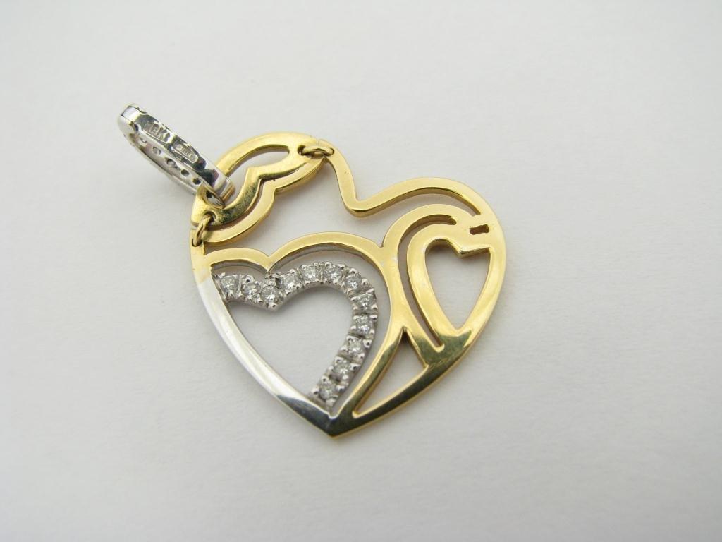 416: Roberto Coin 18K YG Designer Heart Pendant