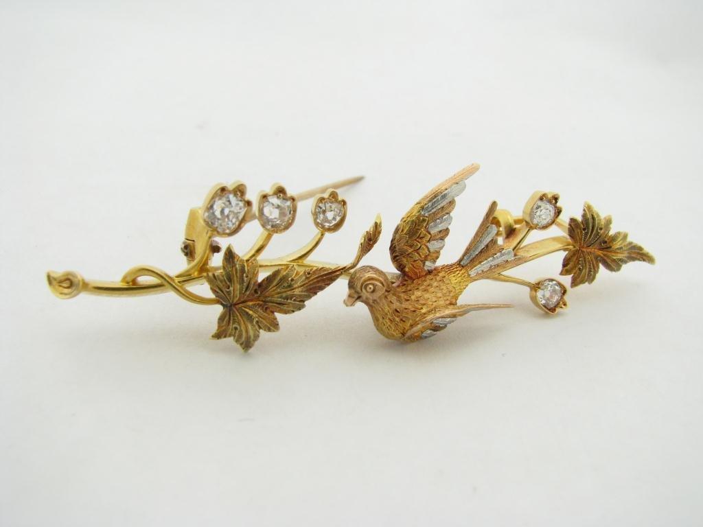 418: Vintage Bar Pin with Bird Motif & Diamonds