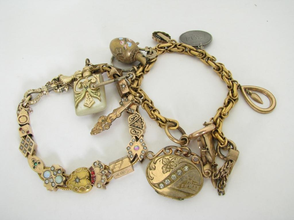 505: Two Victorian Gold-filled Charm Bracelets