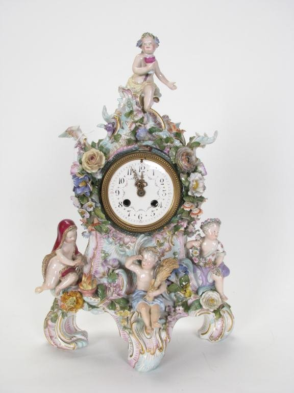 652: Dresden Porcelain Figural Shelf Clock