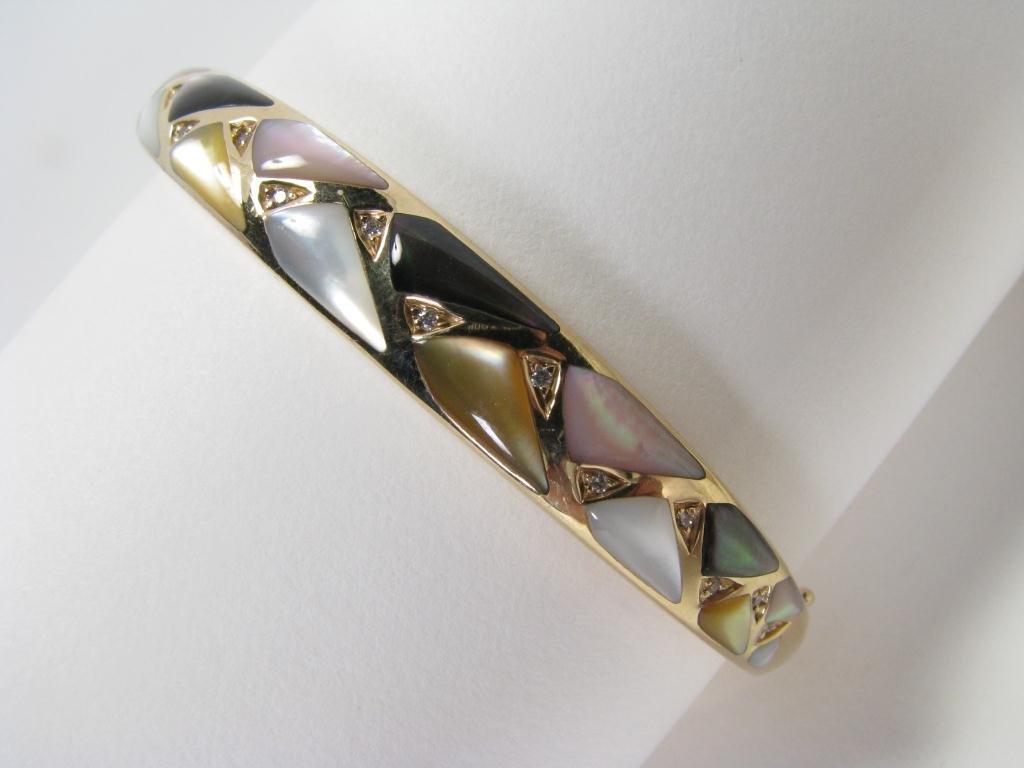 500: Kabana 14k YG Bracelet, Inlaid MOP & Diamonds