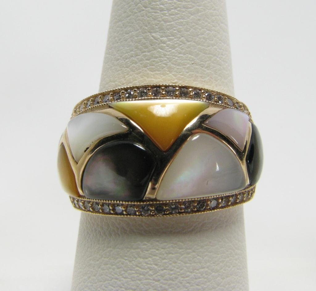501: Kabana 14k YG Lady's Ring, MOP & Diamonds
