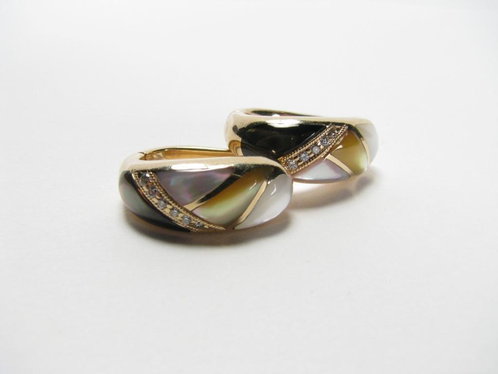 503: Kabana 14k YG Earrings, Inlaid MOP & Diamonds