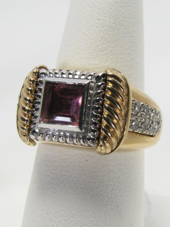 507: Lady's 14k YG Ring, Multiple Inserts