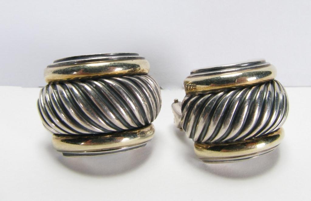 509: David Yurman Sterling & 14k YG Cable Earrings