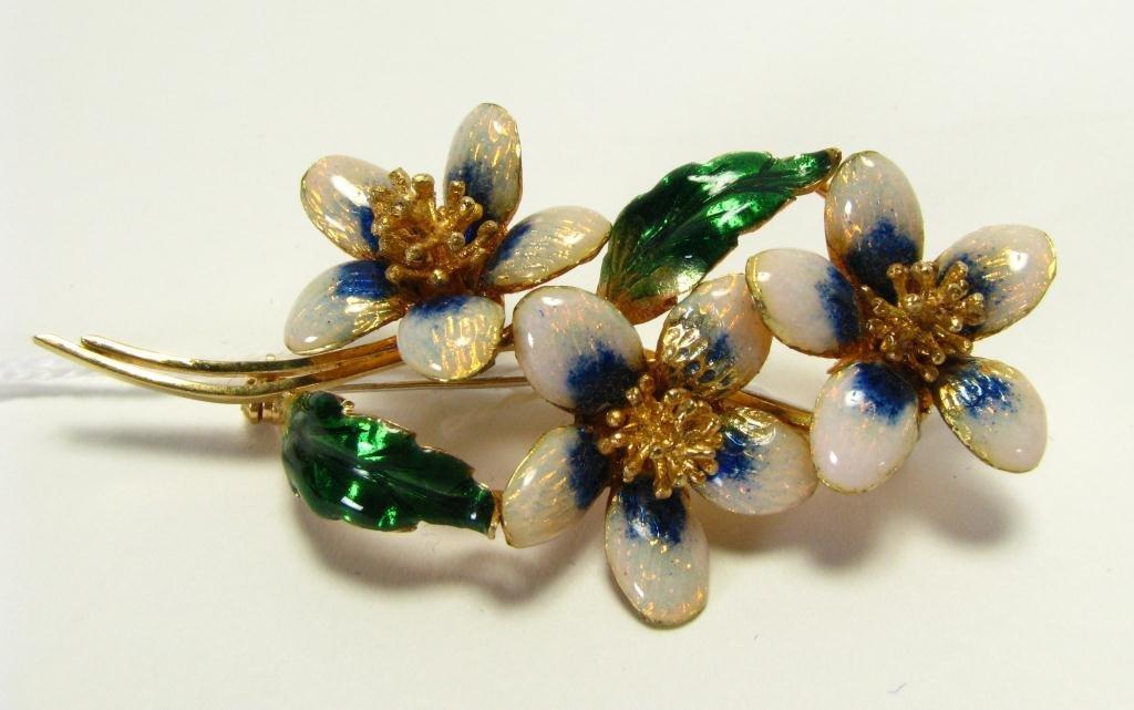 511: Exquisite 18k YG Enameled Flower Motif Brooch