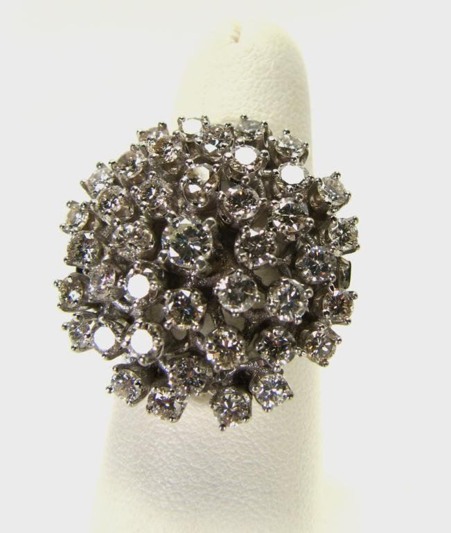 515: Lady's 14k WG Diamond Cluster Ring, 3cts TW