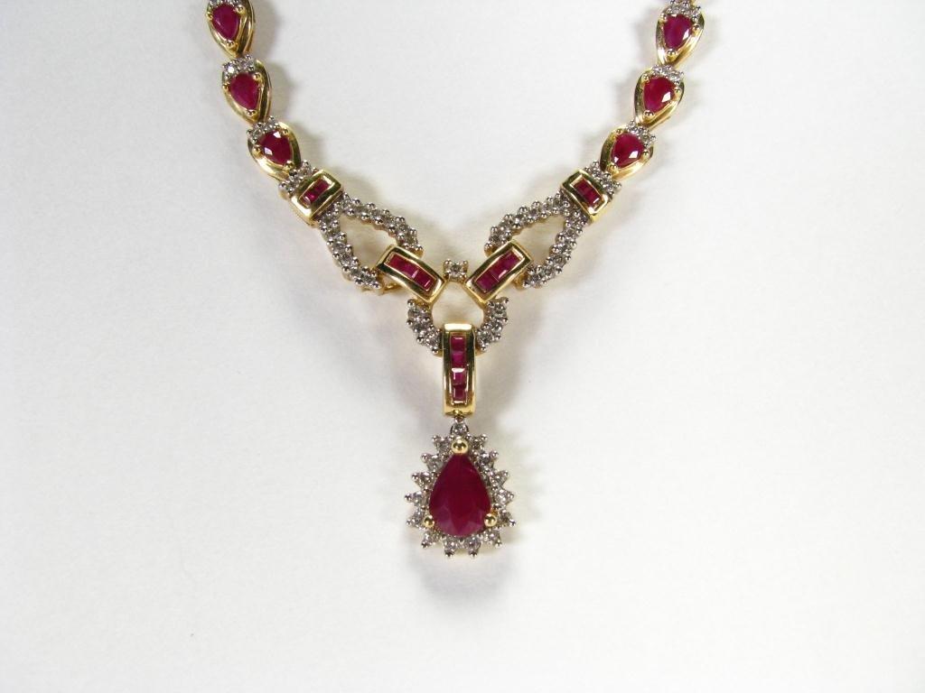 516: Lady's 14k YG Ruby & Diamond Pendant Necklace