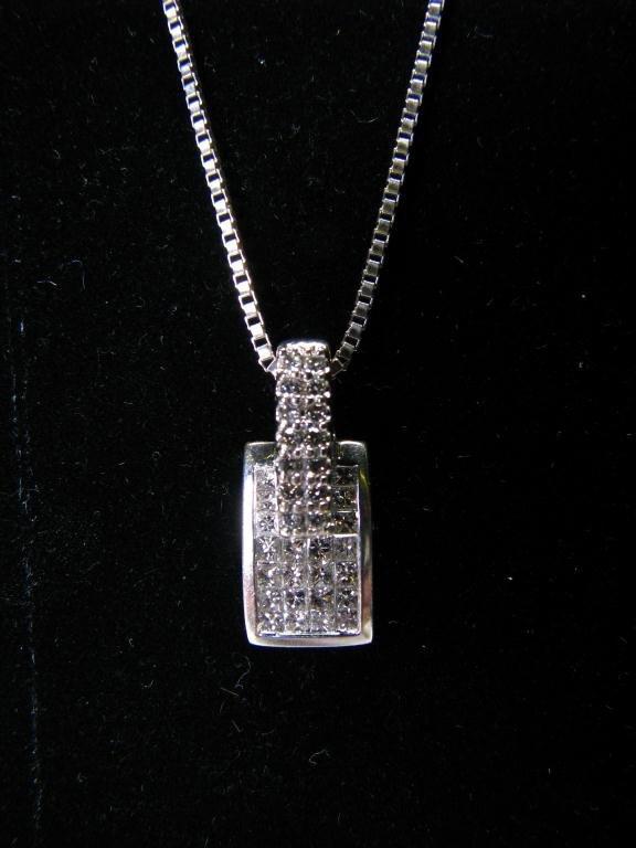 517: Lady's 14k WG Pendant, Invisible Set Diamonds
