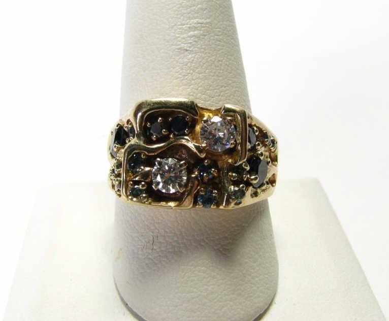 519: Gent's 14k YG Custom Ring, Multi-color Diamonds