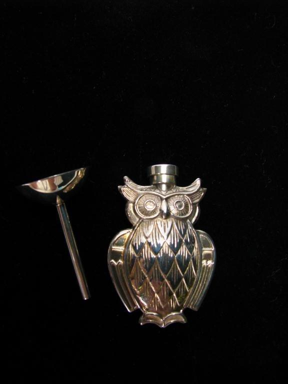 523: Tiffany & Co. Owl Motif Perfume Vial & Funnel