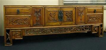 764: Oriental Carved Desk Top Secretary
