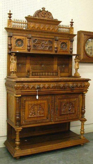 803: Antique English Chestnut Carved Sideboard