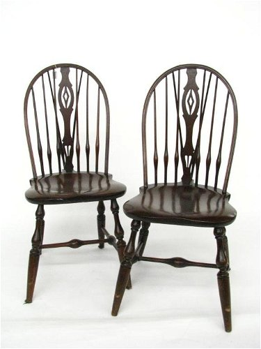 856 Set Of Four Fiddle Back Windsor Chairs