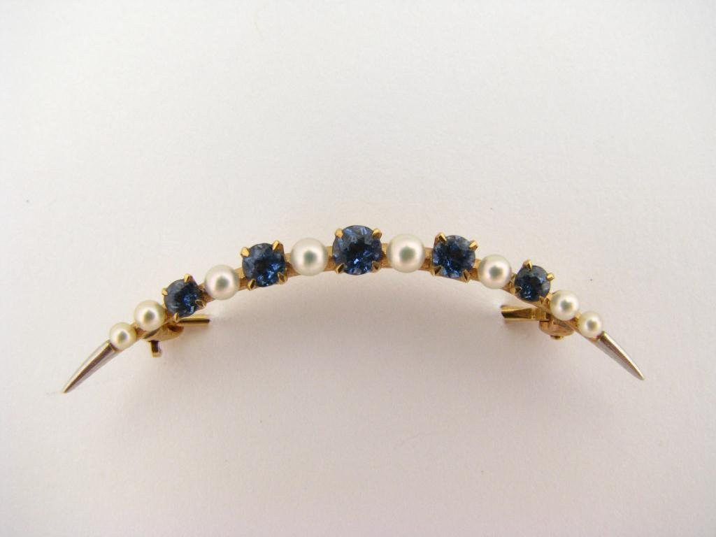 301: Lady's 14k YG Crescent Sapphire & Pearl Brooch