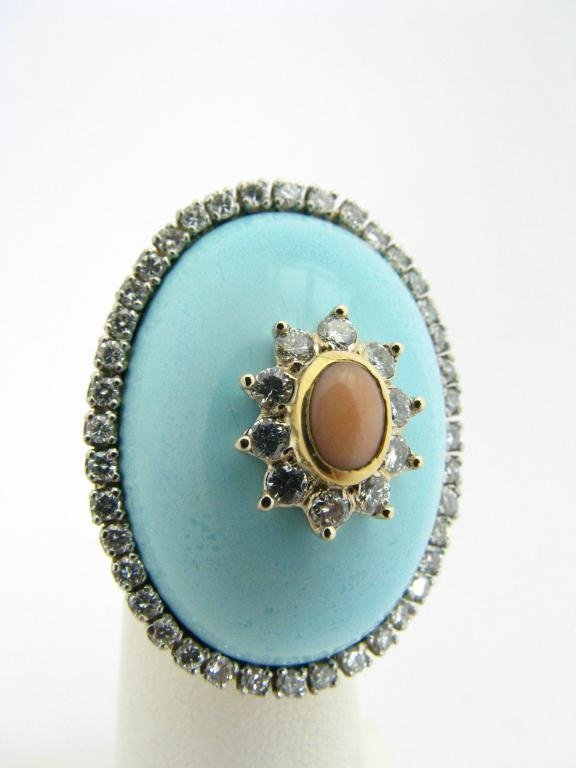 302: Lady's Turquoise & Diamond Dome Ring