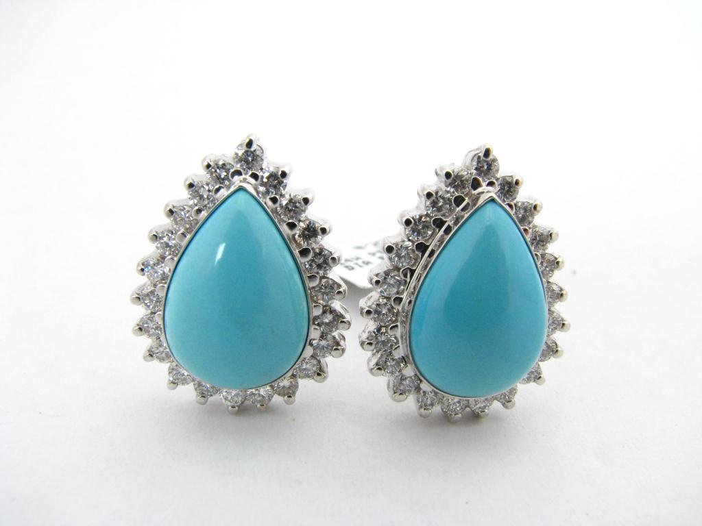 303: Lady's Pear Shaped Turquoise & Diamond Earrings