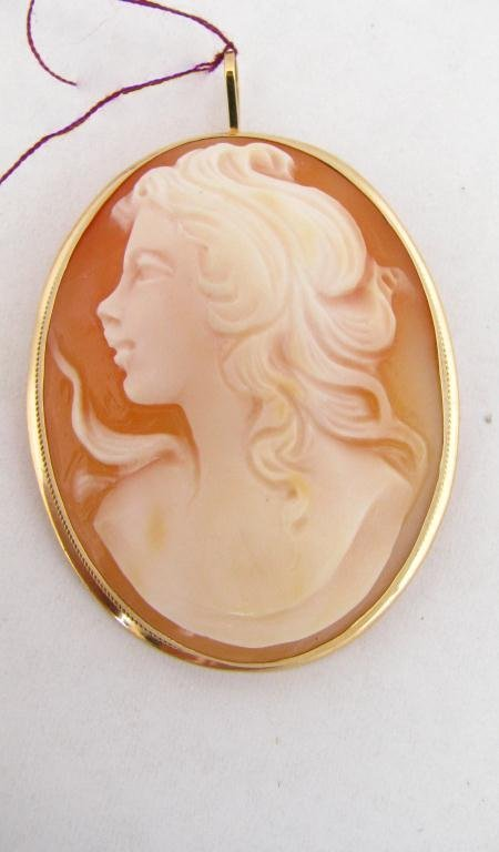 307: Antique Style 14k YG Bezel Carved Shell Cameo