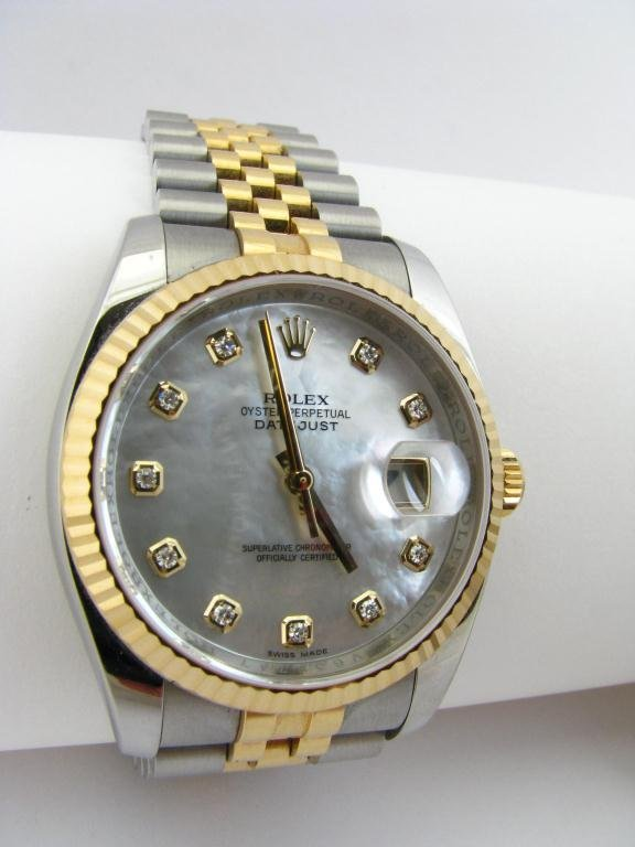 319: Rolex 18k & Stainless Wristwatch, Mother of Pearl