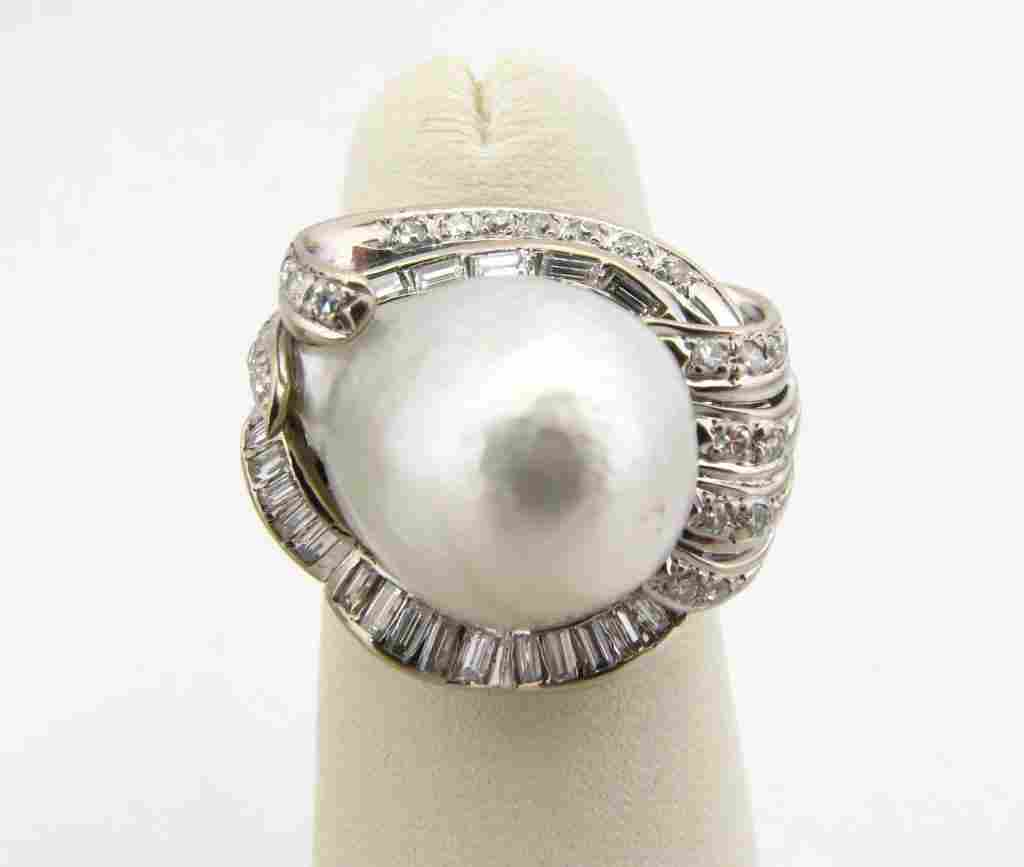 350: Lady's 18k WG Diamond & Pearl Custom Ring