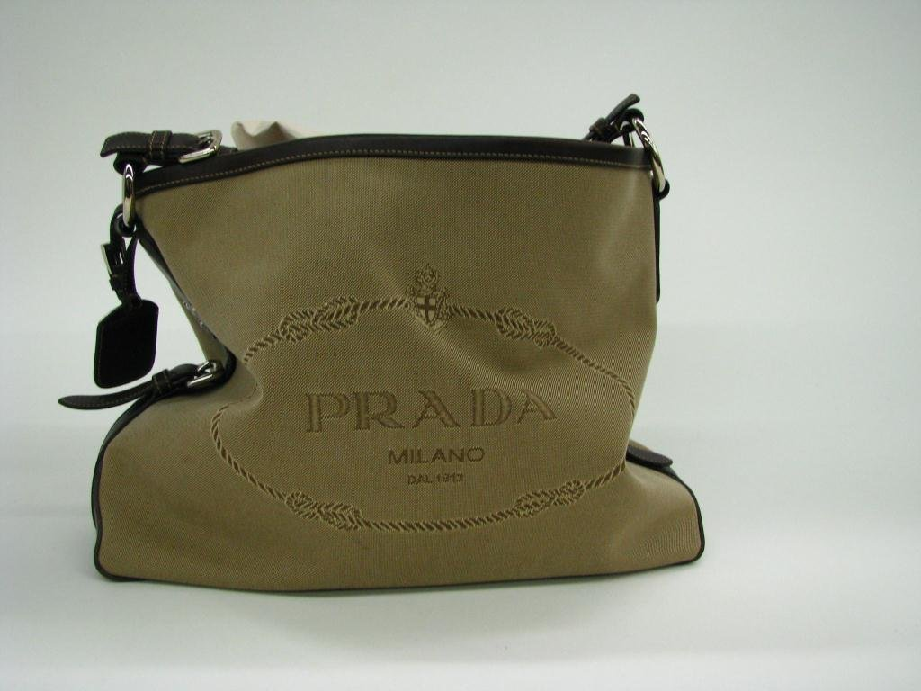 2: Prada Brown Jacquard and Leather Logo Shopper Tote