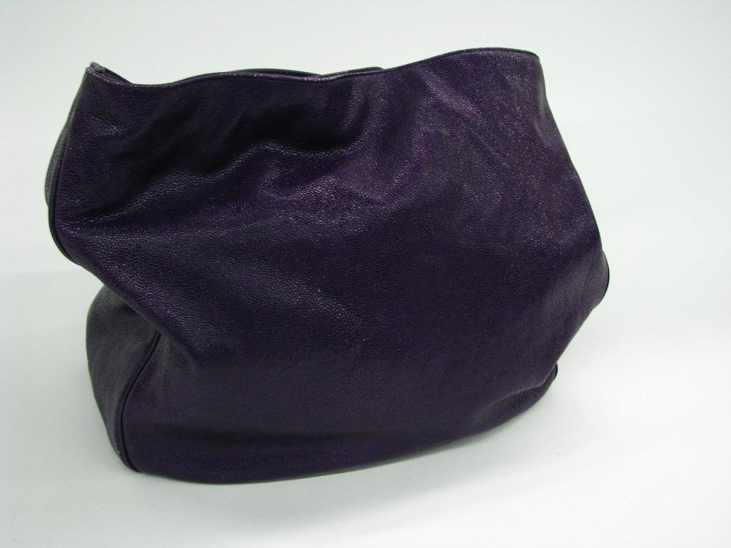 "3: Yves St. Laurent Large Purple Leather ""Roady Hobo"""